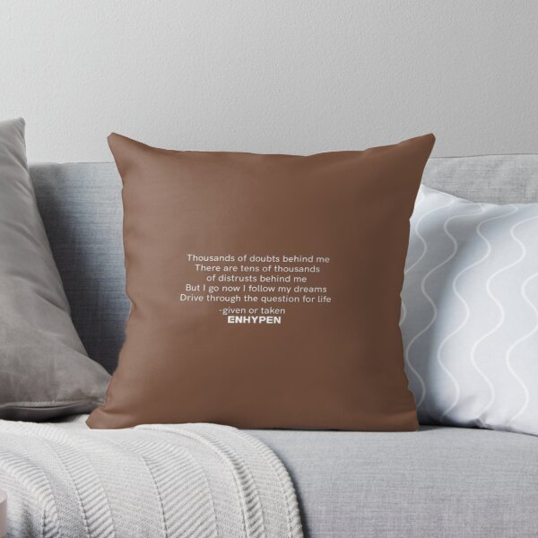 ENHYPEN 'GIVEN OR TAKEN' LYRICS Throw Pillow RB3107 product Offical Enhypen Merch